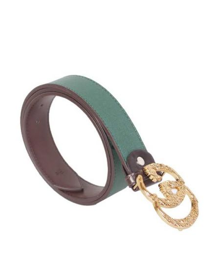 Gucci Guccissima Gold Interlocking G Buckle With Snake Print Green