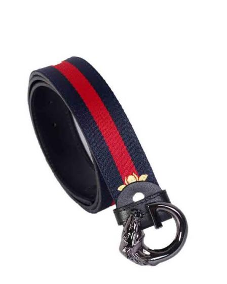 Gucci Web Bee With Black Horse Head Buckle Belt Navyblue and Red Stripe