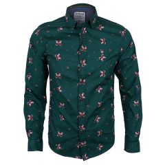 Badgley Cotton-blend Long Sleeve Shirt with Classic Designs- Green