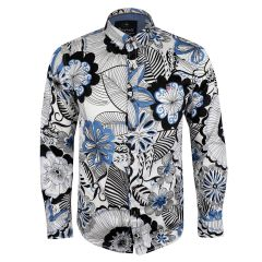 Bajieli White And Blue Floral Prints Long Sleeve Shirt