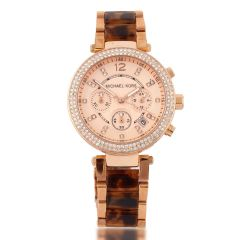 Michael Kors Women's Chronograph Quartz Watch With Brown Stainless Acetate