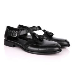 Billionaire Exotic Black Plain with Tassel Cover Leather Sandal