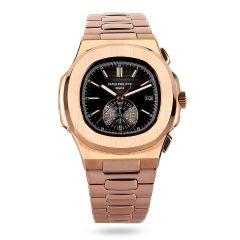 Patek Philippe Nautilus sapphire crystal back Rose Gold Watch