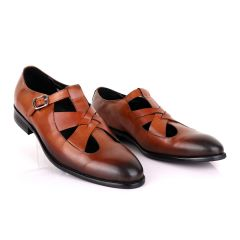Berluti Leather Buckle shoes-Brown