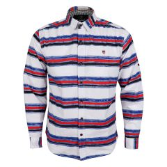 Bajieli Executive White With Red, Blue, And Black Colored LongSleeve Shirt
