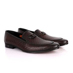 John Foster Coffee Basket Pattern Crested Leather Shoe
