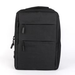 Trendy Oxford Front Double Zipper Designed Business BackPack-Black