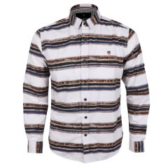 Bajieli Executive White With Brown, Blue, And Black Colored LongSleeve Shirt