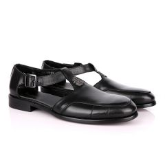 Billionaire Exotic Black Cover Leather Sandal