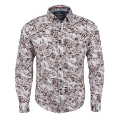 Bajieli New York City Quality Finest Floral Long Sleeve Shirt- Brown