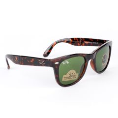 Ray-Ban Foldable Wayfarer Brown And Green Lens Sunglasses