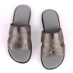 Hermes Paris Grey With Purple and Yellow Design Leather Slippers