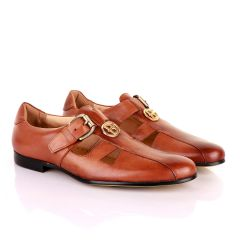 Gianfranco Butteri Brown Leather with Golden Logo Sandals