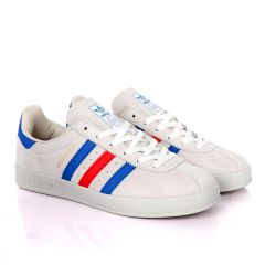 AD Originals BroomField Beige Suede Sneakers With Blue And Red Stripes