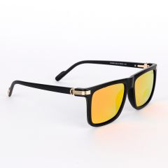 Cartier Classy Reflector Black And Gold Lens Sunglasses