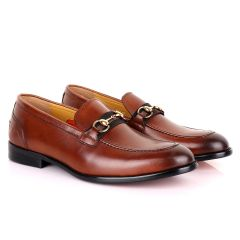 John Mendson Strap Leather Brown Loafers