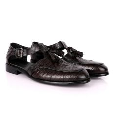 Billionaire Classic Croc Tassel Coffee Leather Sandal Shoe