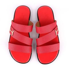 Hermes Paris With Logo Red Leather Slippers