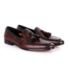 John Foster Full Woven With Tassel Leather Shoe-Coffee