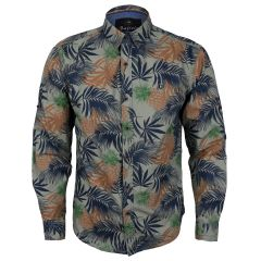 Bajieli Man's Vintage Floral Printed Shirts Brown Button Down Long Sleeve
