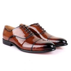 John Mendson Laceup Wetlips Brown Leather Shoe