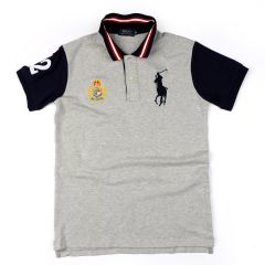 PRL Grey Fitted Polo Shirt With Striped Collar