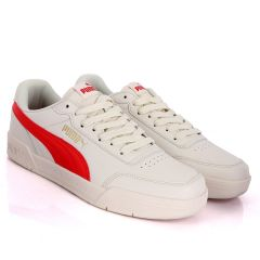 Puma Soft Foam Optimal Comfort Off-White And Red Leather Sneakers