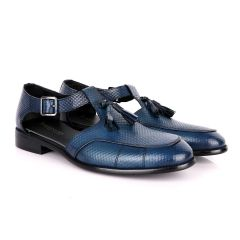 Billionaire Woven Tassel Blue Leather Sandal Shoe