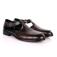 Billionaire Logo Head Coffee Plain Leather Sandal Shoe