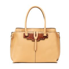 Rad Apricot Leather 3 In 1 Handbag With Wood Trimmings