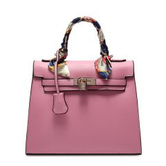 Stunning Padlock Birkin Inspired With Scarf - Light Pink