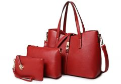 Classic Leather Detachable 3 in 1 Strap Woman Red Handbag