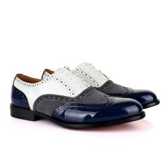 John Mendson Blue White And Grey Oxford Lace up Wet Lips and Suede Shoe.