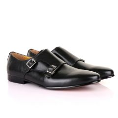 John Mendson Double Monk Strap Plain Black Leather Shoe