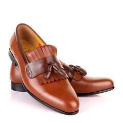John Mendson Brown Leather Tassel Loafers