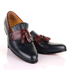 John Mendson Welted Crafted Blue and Brown tassel Loafers Shoe