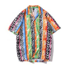 Short Sleeves Leopard Striped Casual Men's Hawaiian Shirts