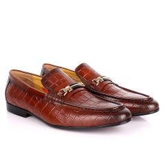 John Foster Full Crocodile Leather With Simple Chain Designed Men's Shoe