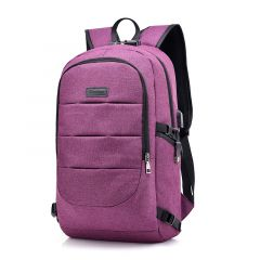 Dxyizu Oxford Men's Casual BackPack With Anti-Theft Lock And USB Charging Port-Purple