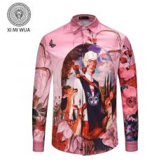 Gucci Vintage Printed Button Down Long Sleeve Pink Shirt