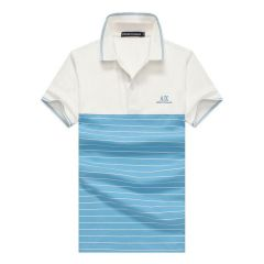 Armani Exchange Striped Polo Shirt With Tipped Collar- Blue