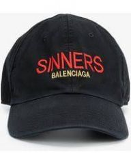 Balenciaga black 'Sinners' Embroidered Cotton twill Baseball Cap