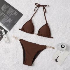 Gucci Brown Two-Piece Tie up Bikini