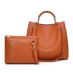 Guluded Leather Portable Handbag-Brown