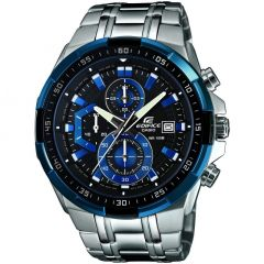 Casio Edifice Analog Black Dial Men's Silver Steel and Blue Screen Watch