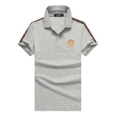 Vers Medusa Embroidered Cotton Polo Shirt-ash