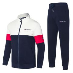 Tommy Hilfiger Color Block Pullover Design White And Navy-blue Tracksuit
