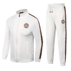 Versace Front Embroilded Logo White Cotton Tracksuits