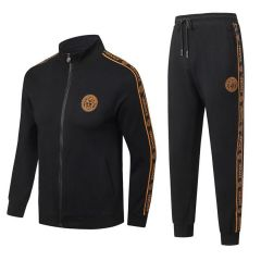 Versace Front Logo Tracksuits Long Sleeved Zipper-Black