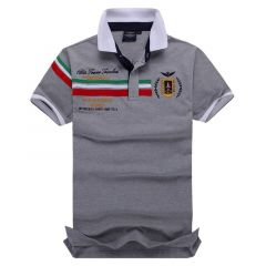 Aeronautical Polo Shirt Men's Boutique Embroidery Breathable-Ash